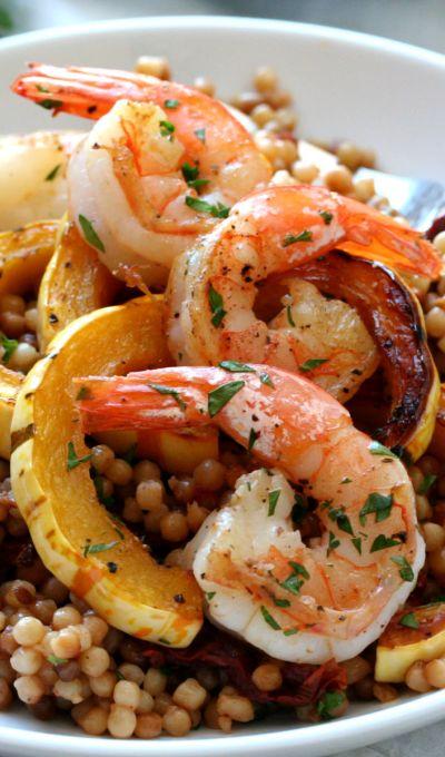 Roasted Shrimp, Delicata Squash and Sun Dried Tomato Israeli Couscous
