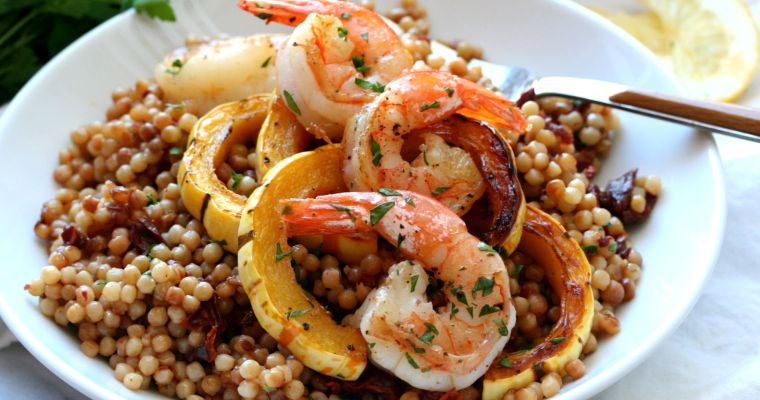 Roasted Shrimp, Delicata Squash and Sun Dried Tomato Israeli Couscous