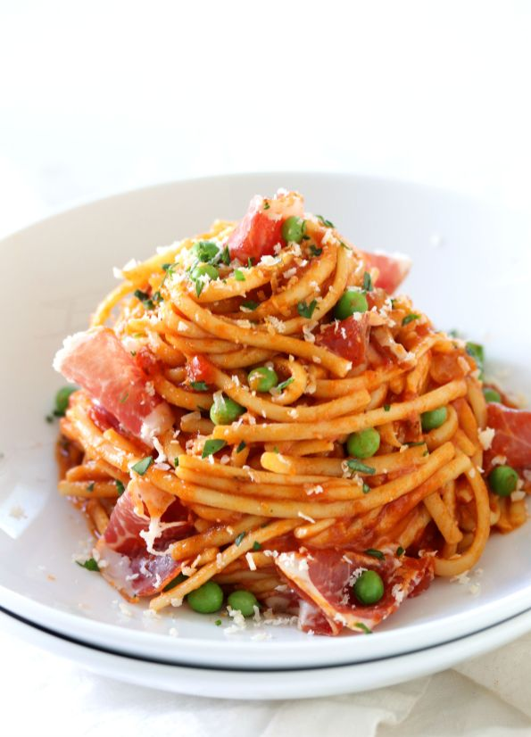 Linguine Marinara with Peas and Dry Coppa