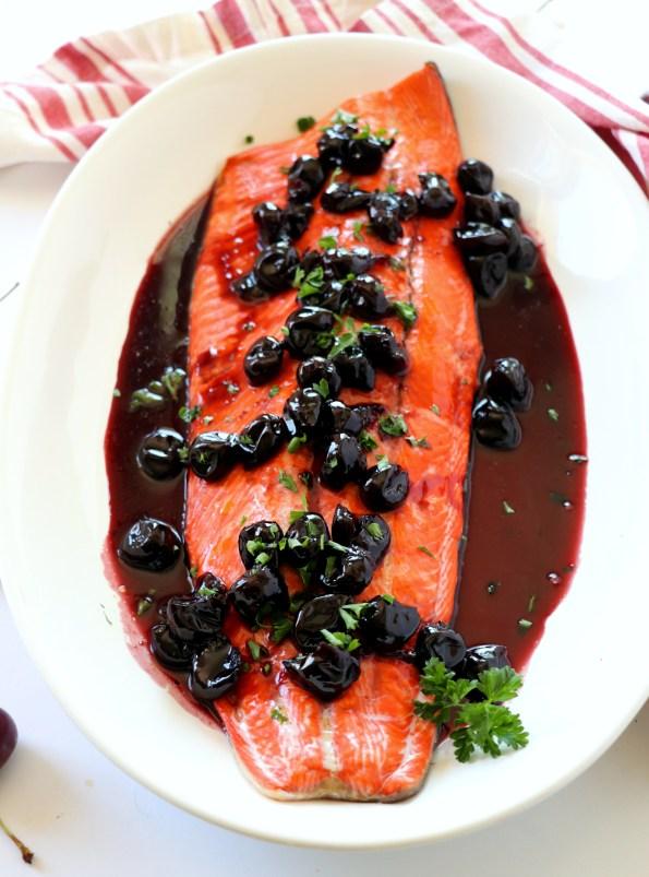 Alaskan Sockeye Salmon with Cherry Wine Sauce