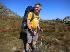 Met this through hiker near mount Washignton. He is one of the few hundred through hikers who cross the whole of 2200 miles long Appalachian Trail in a single attempt. This trail starting from Georgia and ending at Maine state. He started back in April and was planning to end this lifetime trek in October.