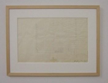 Ed Ruscha, Study for Unidentified Apartment Building, 1965. Pencil on transparent paper. Kunstmuseum Basel, Kupferstichkabinett, Inv. 2011.159 (Foto: Marlene Obermayer)