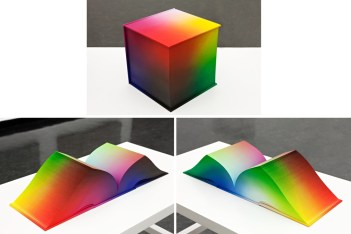 Tauba Auerbach,RGB Colorspace Atlas2011Digital offset print on paper, case bound book, airbrushed cloth cover and page edges8 x 8 x 8 inches each 20.3 x 20.3 x 20.3 cm. Binding co-designed by Daniel E. Kelm and Tauba Auerbach. The books were bound by Daniel E. Kelm assisted by Leah Hughes at the Wide Awake Garage.