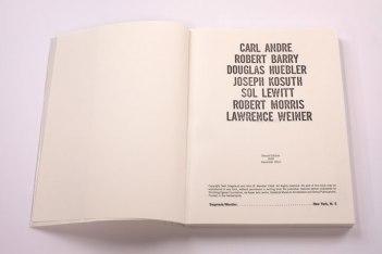 CARL ANDRE ROBERT BARRY DOUGLAS HUEBLER JOSEPH KOSUTH SOL LEWITT ROBERT MORRIS LAWRENCE WEINER [also known as the 'Xerox Book'], Roma Publications 2015