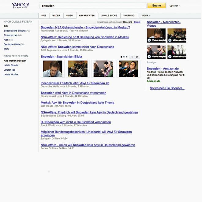 Screenshot: Link ohne Vorschautext bei Yahoo.