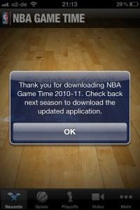 Das NBA-Gametine-App auf dem iPhone wusste schon längst, was die Stunde geschlagen hat.