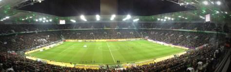 Der Borussia-Park aus der WDR-Box bei der Partie gegen Leverkusen. Foto: David Nienhaus