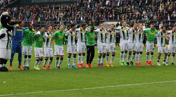 Borussia Mönchengladbach feiert eine Saison, die die Fohlen in die Champions League führt. Foto: Dirk Päffgen