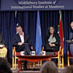 Congressman Sam Farr, Supervisor Zach Friend, Adrienne Harris, and Spencer Critchley on stage at the Middlebury Institute of International Studies at Monterey