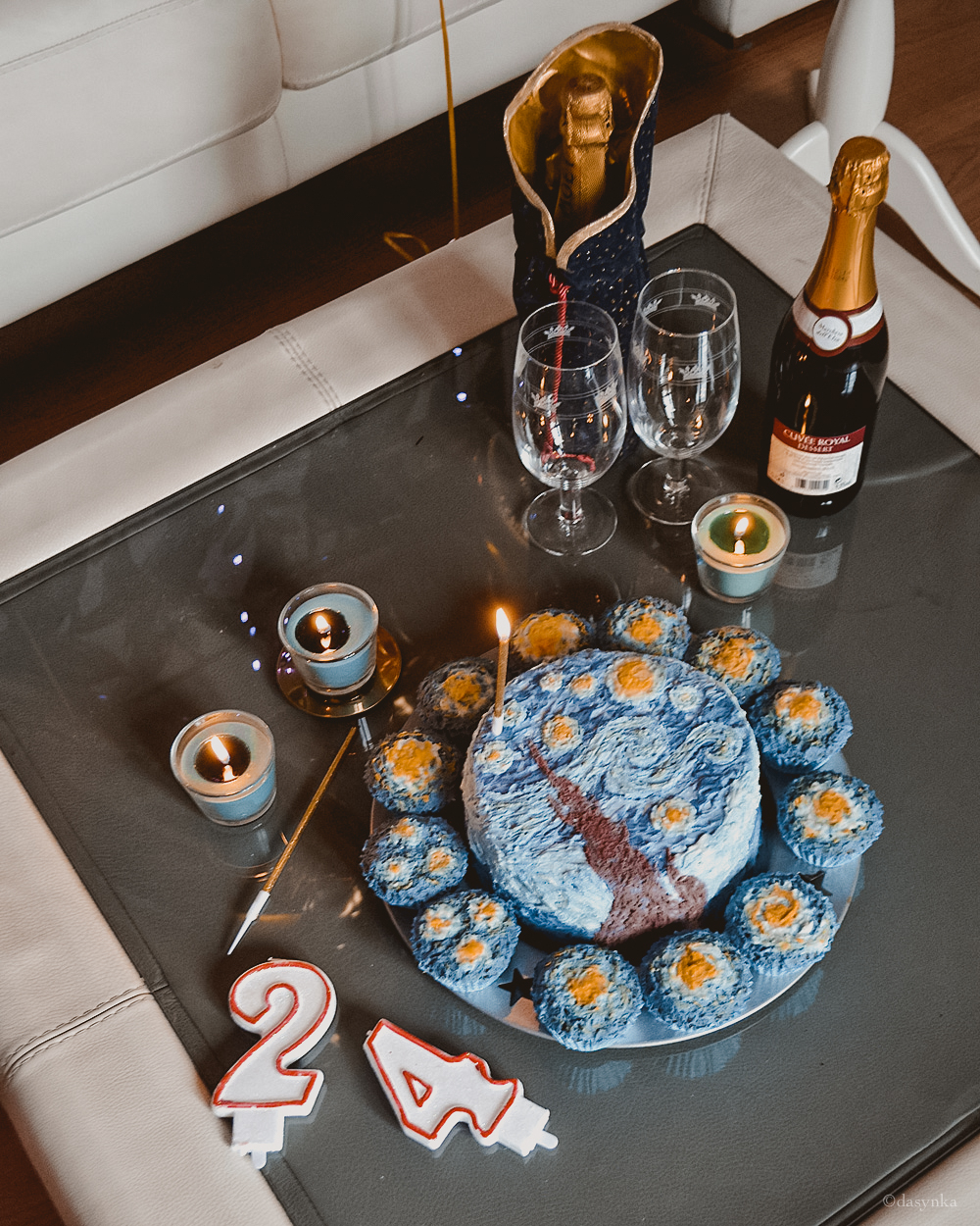 dasynka-fashion-blog-blogger-influencer-inspiration-women-ootd-inspo-outfit-shooting-model-globettrotter-travel-girl-lookbook-instagram-long-hair-street-style-casual-italy-lifestyle-birthday-bday-cake-van-gogh-painting-design-paint-starry-night-ballons-luxury-gift-surprise
