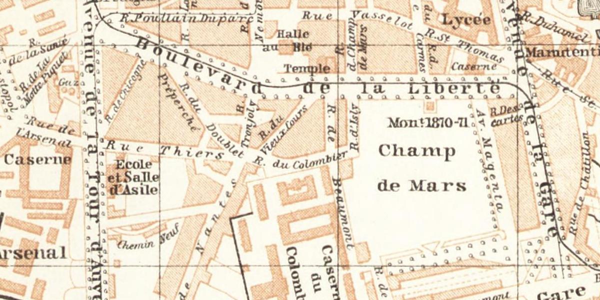 Carte vintage de Rennes