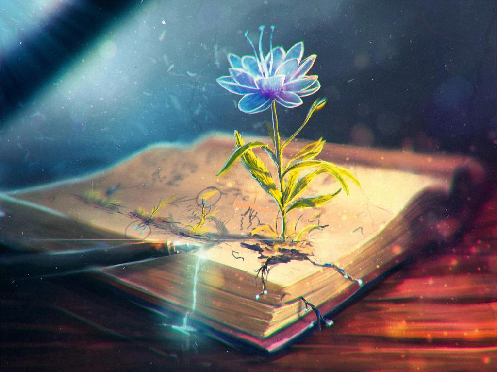 flor, extracto, libro, la pluma