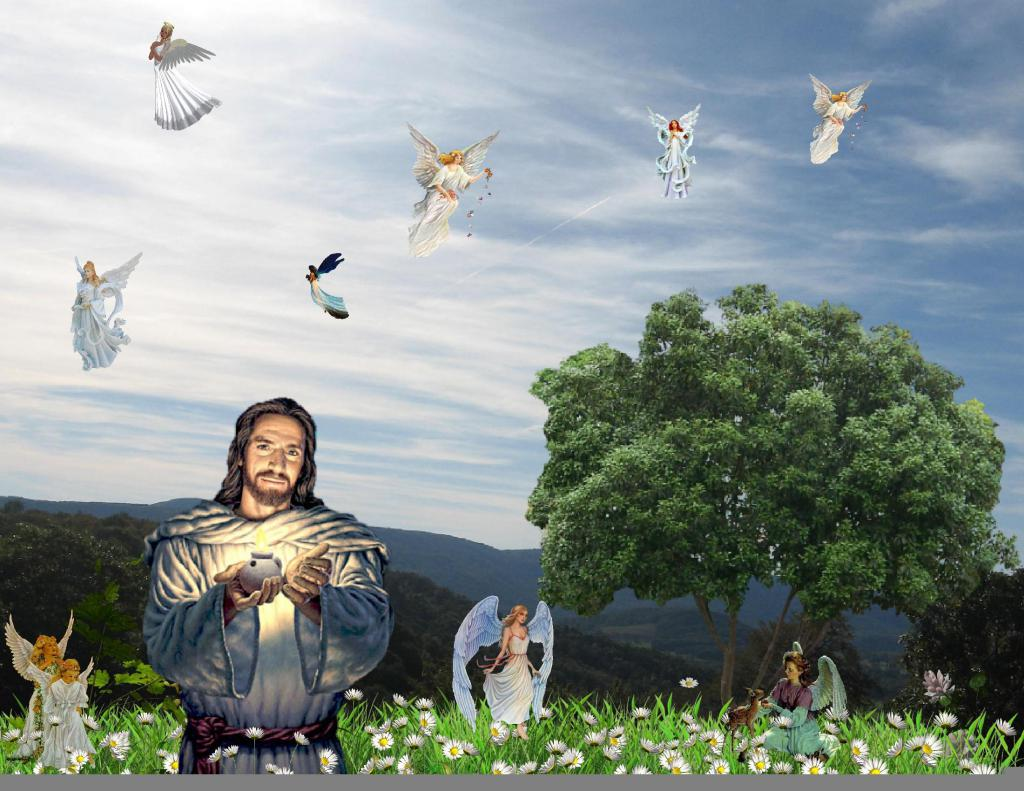 Hd Wallpapers Butterflies Widescreen Jesus His Angels Hd Desktop Wallpaper Widescreen High
