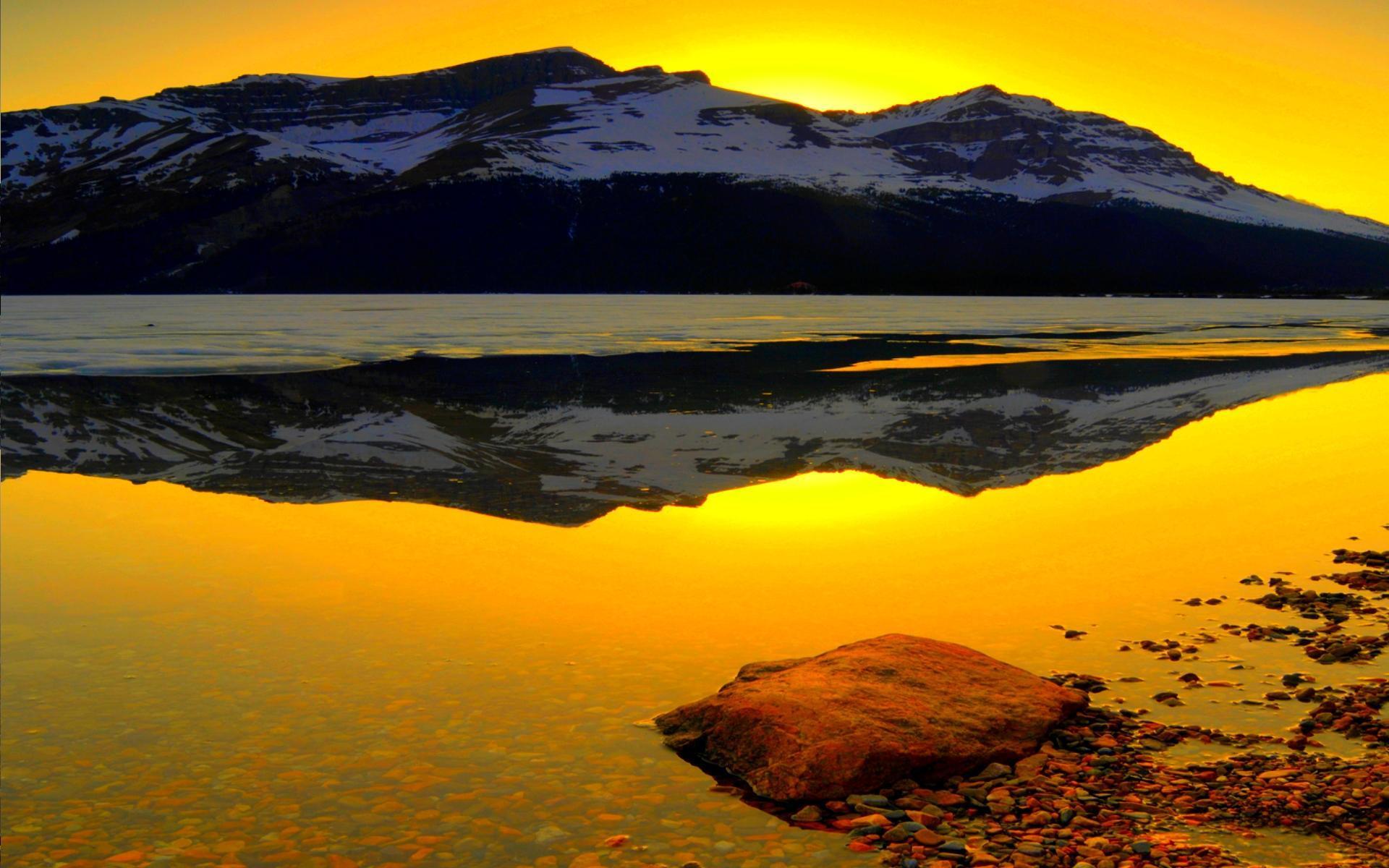 Mountains, lake, sea, sunset, dusk. Mountain Lake At Sunset Hd Desktop Wallpaper Widescreen High Definition Fullscreen
