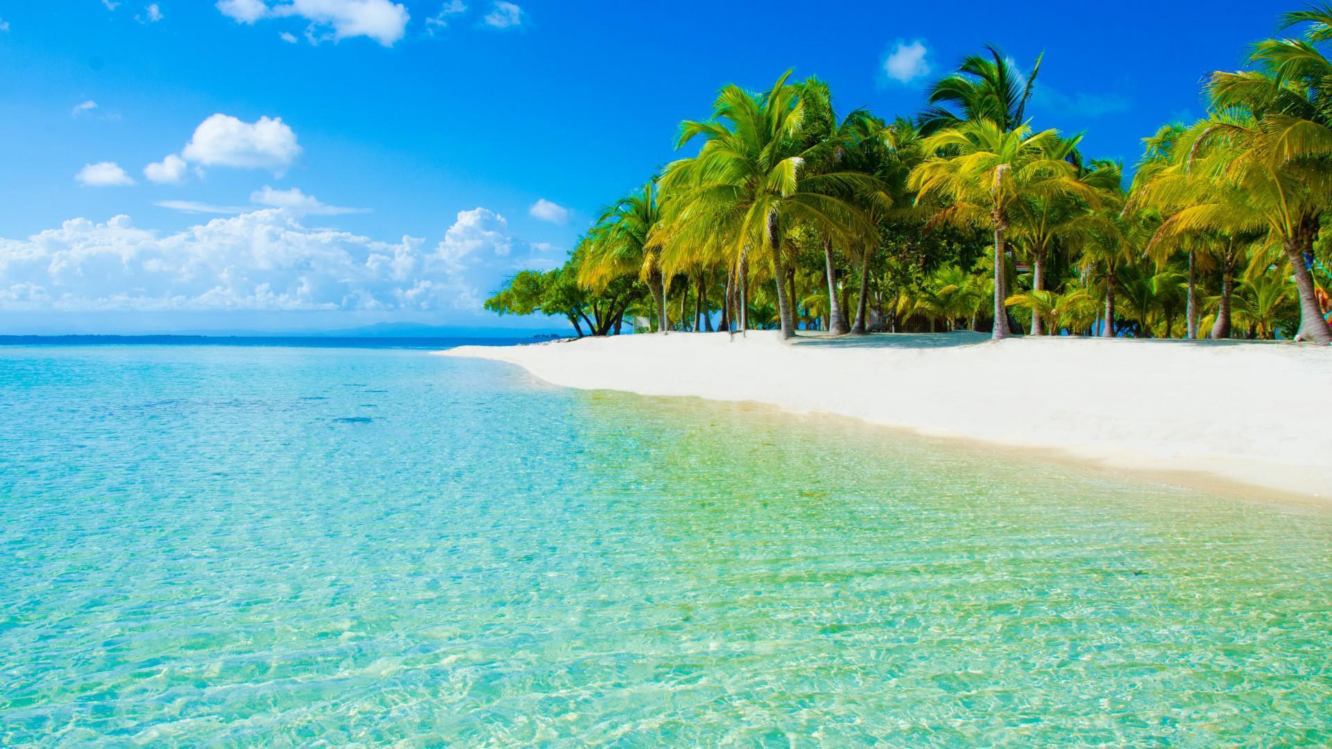 wallpaper natura cielo nuvole mare spiaggia palme paesaggio hd widescreen alta