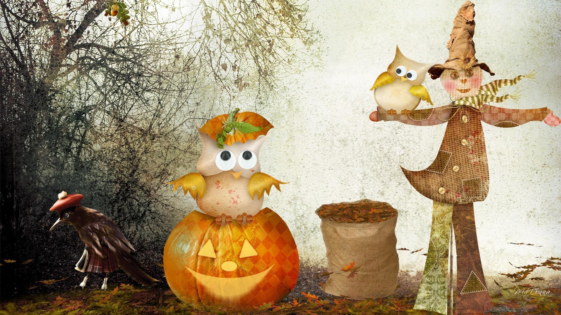 Free Fall Images Desktop Wallpaper Scarecrow Owls Halloween Hd Desktop Wallpaper Widescreen