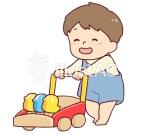 手押し車を押す子供のイラスト