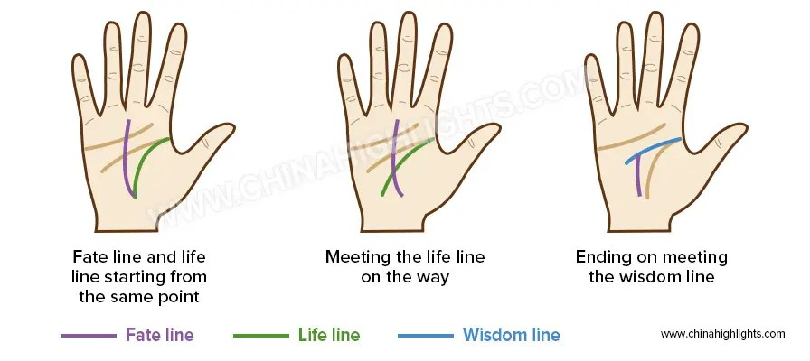 Fate Line in the Palm Reading