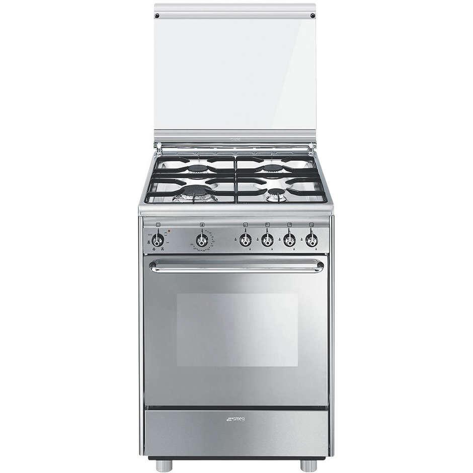 Smeg CX51SV cucina 60x50 4 fuochi a gas forno elettrico ventilato 55 litri classe A colore inox