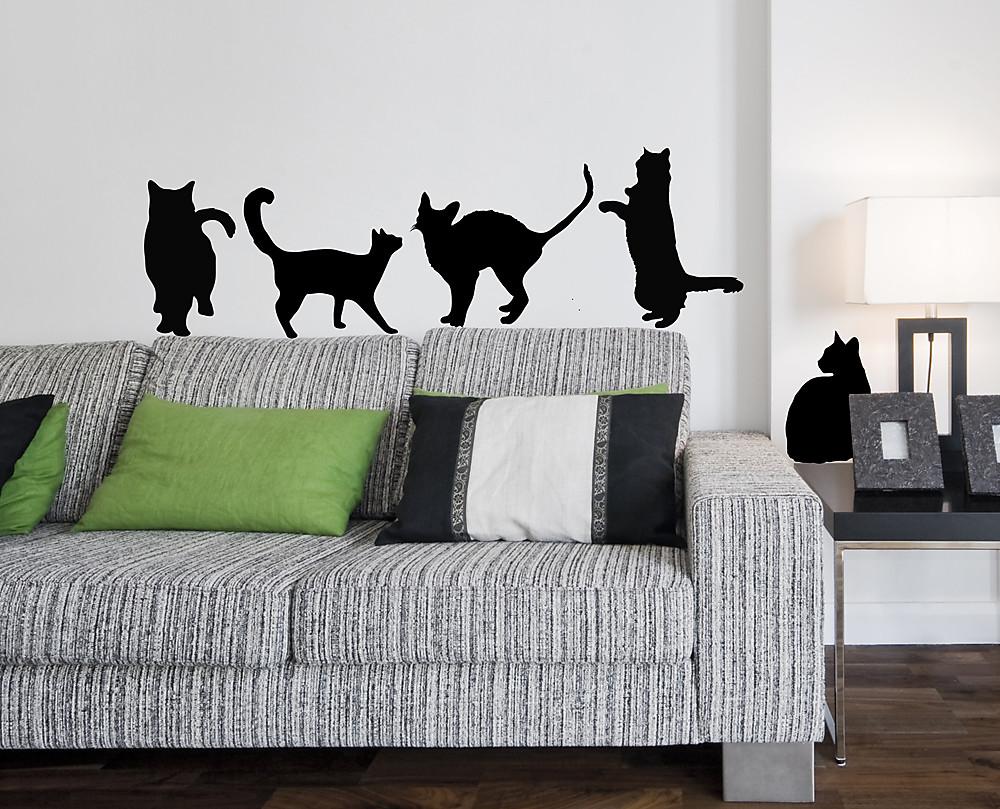 sticker sagome gatti vari decorazione adesiva murale