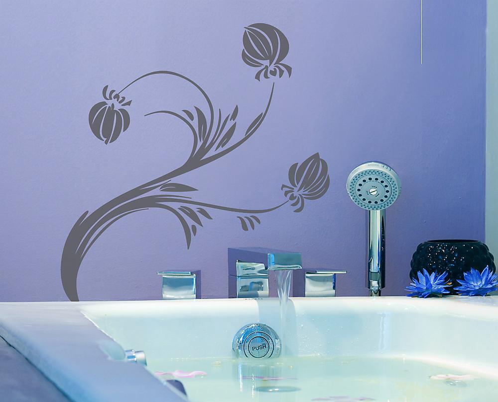 sticker pianta con fiore decorazione adesiva murale