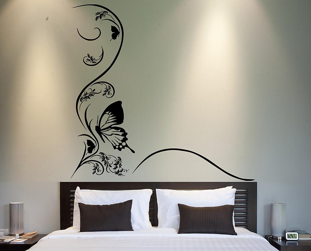 sticker farfalla con fiore decorazione adesiva murale