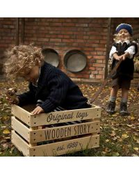 Wooden Story Wooden Storage Crate on Wheels + Thick cotton ...