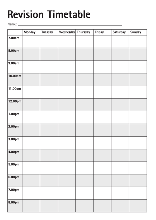 Revision Timetable Template Printable Pdf Download