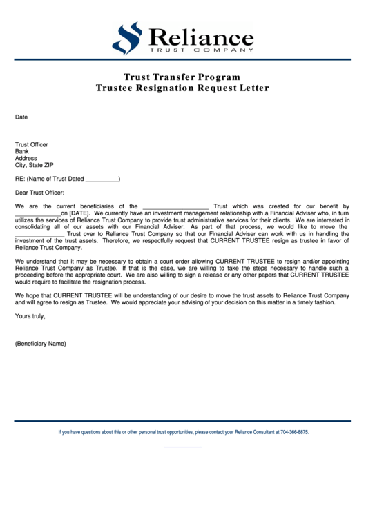 Trustee Resignation Request Letter Template printable pdf