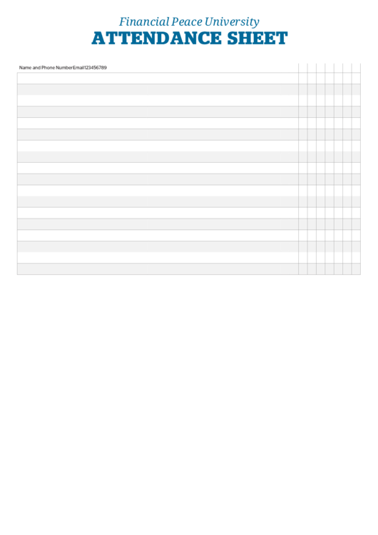 Financial Peace University Attendance Sheet Printable Pdf