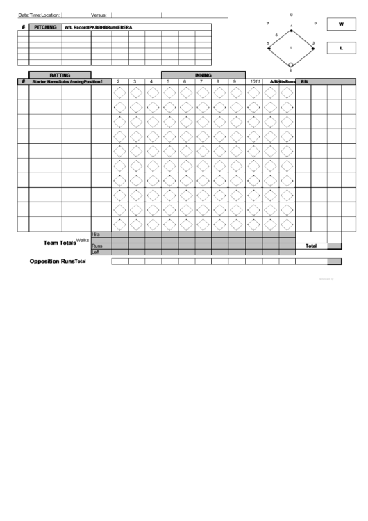 Baseball Score Sheet printable pdf download