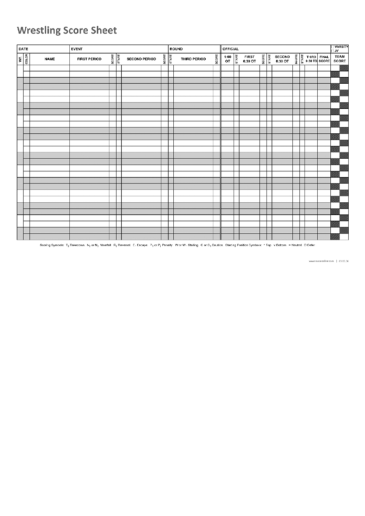 Wrestling Score Sheet Printable Pdf Download