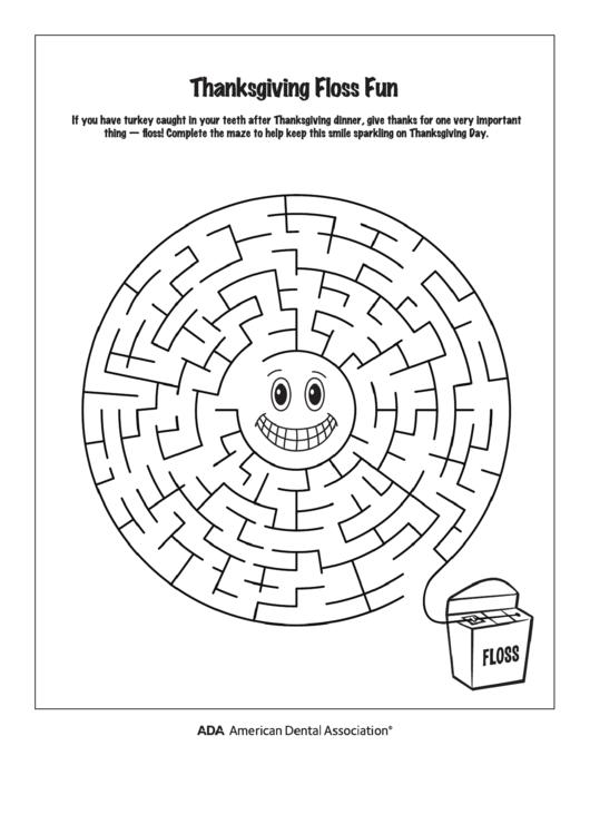 Thanksgiving Flossing Maze Activity Sheet printable pdf