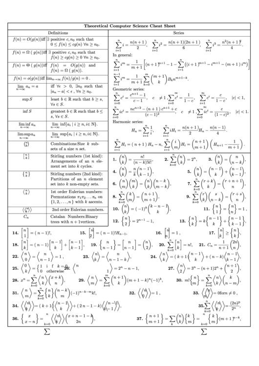 Theoretical Computer Science Cheat Sheet printable pdf download