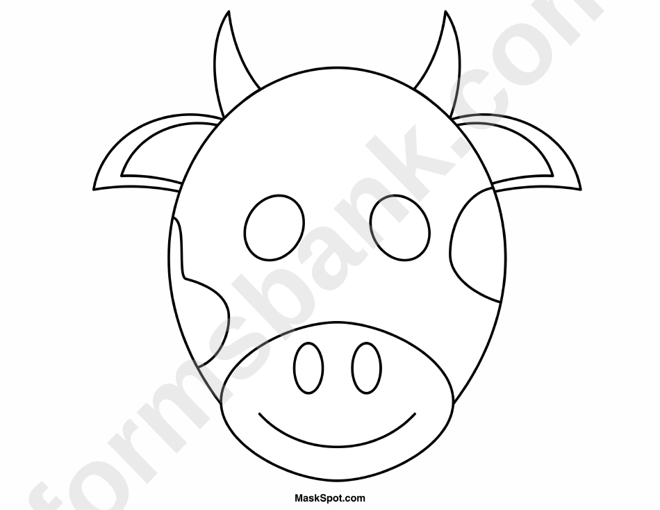 Cow Mask Template To Color printable pdf download
