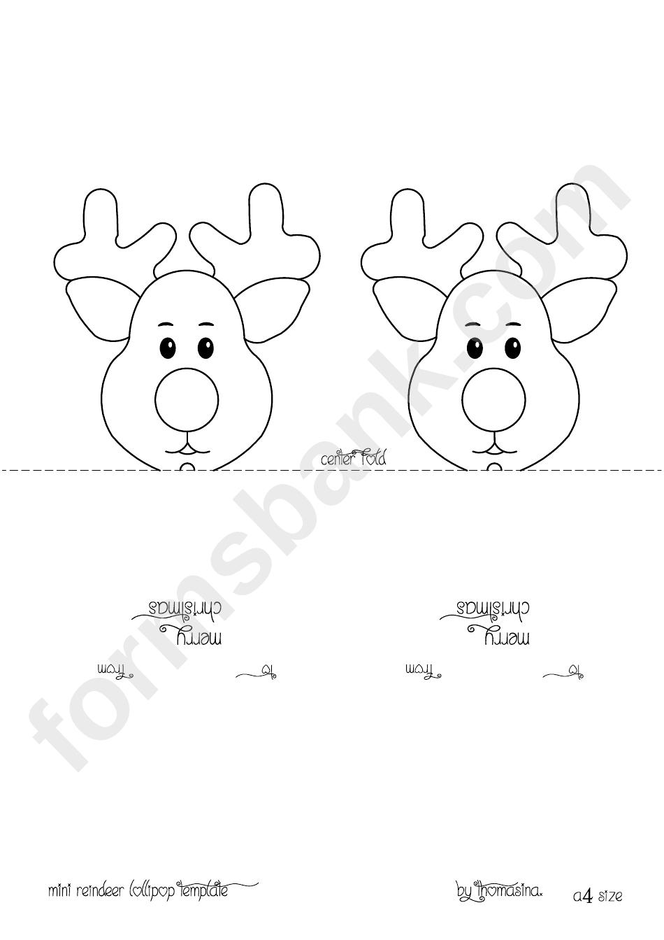 Mini Reindeer Head Lollipop Template printable pdf download