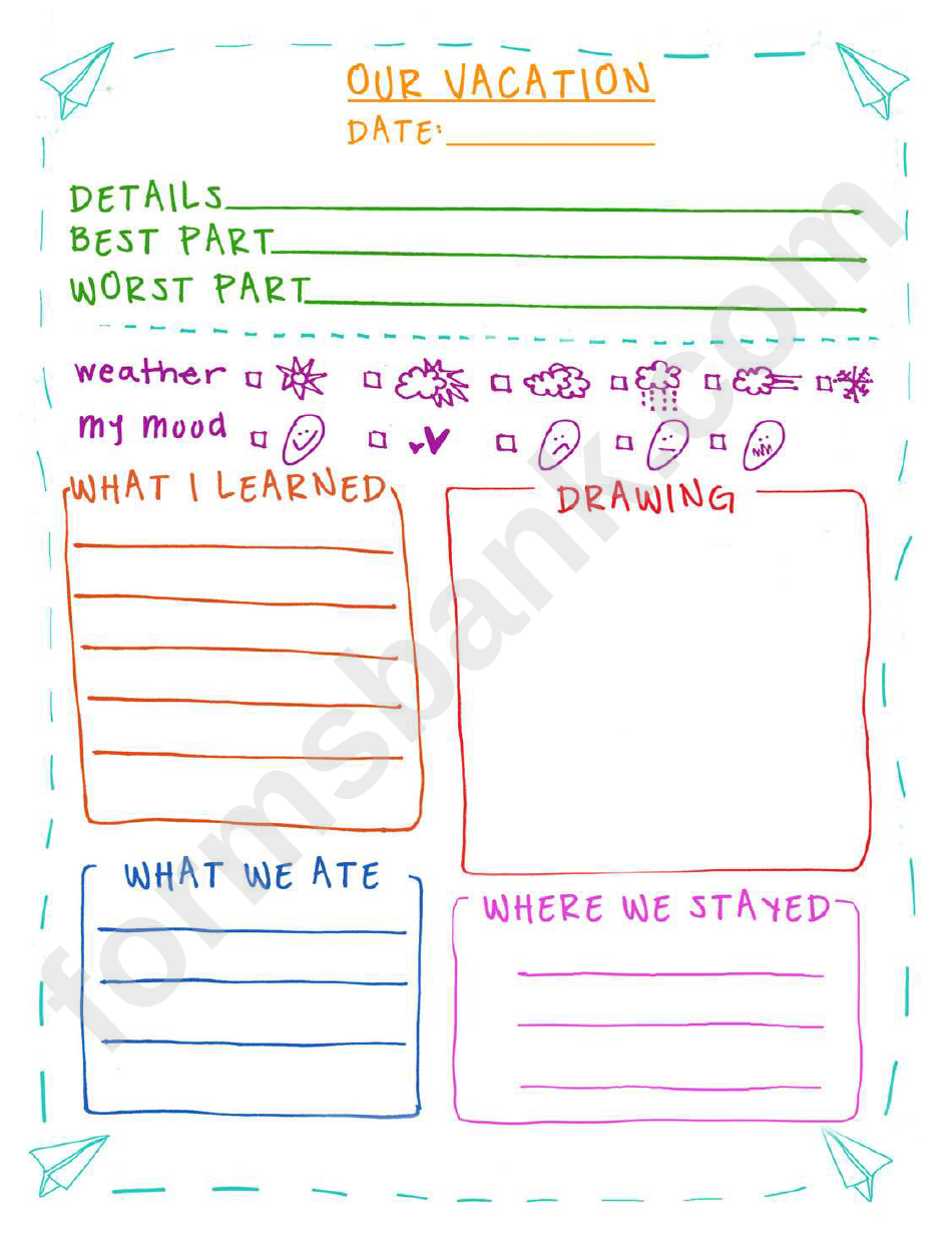 Vacation Journal Entry Template printable pdf download