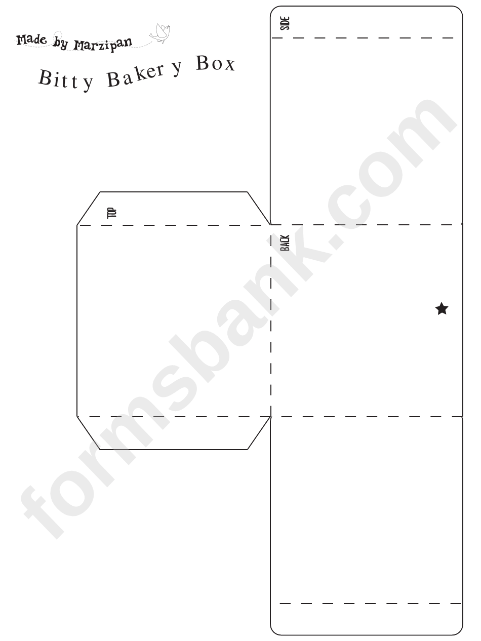 Bitty Bakery Box Template Printable Pdf Download