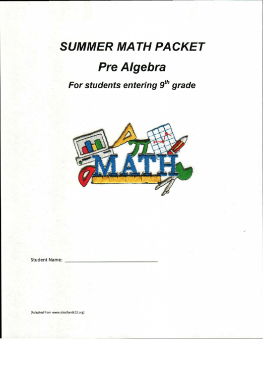 Summer Math Packet Year 8 printable pdf download