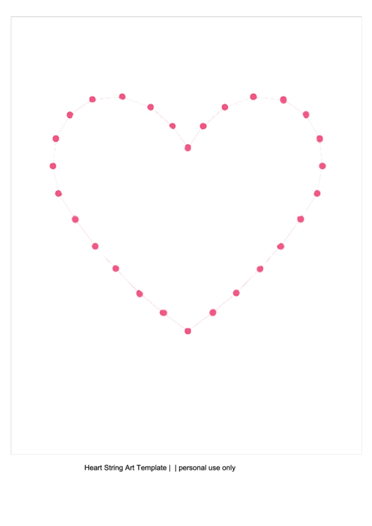 Big Heart String Art Template printable pdf download