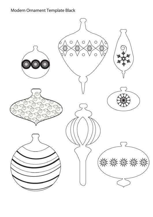Black Modern Christmas Ornament Template printable pdf