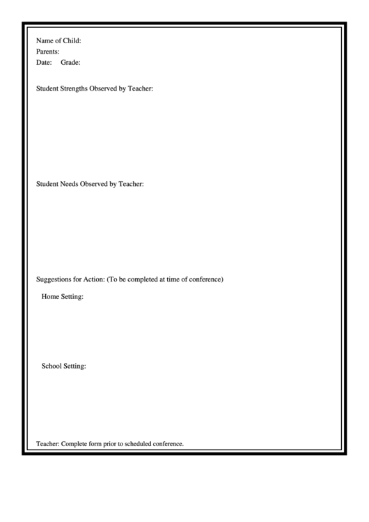Student Observation Form printable pdf download
