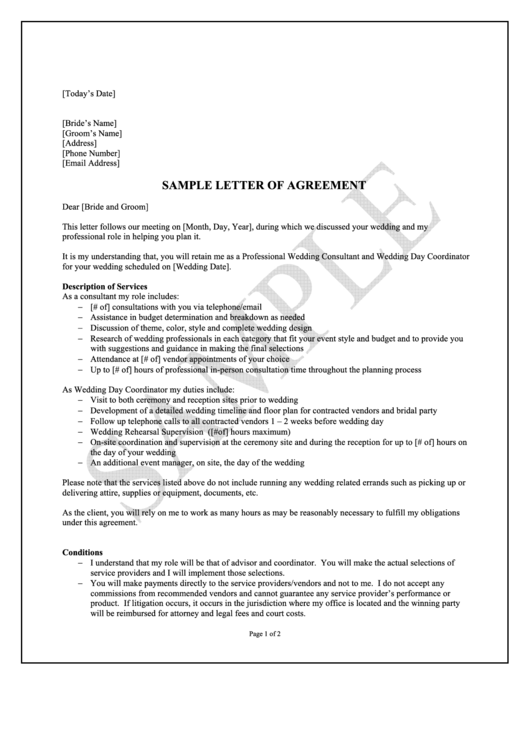 Sample Wedding Letter Of Agreement printable pdf download