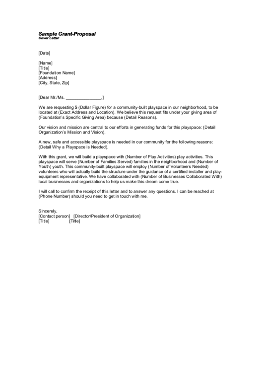 Sample GrantProposal Cover Letter Template printable pdf download
