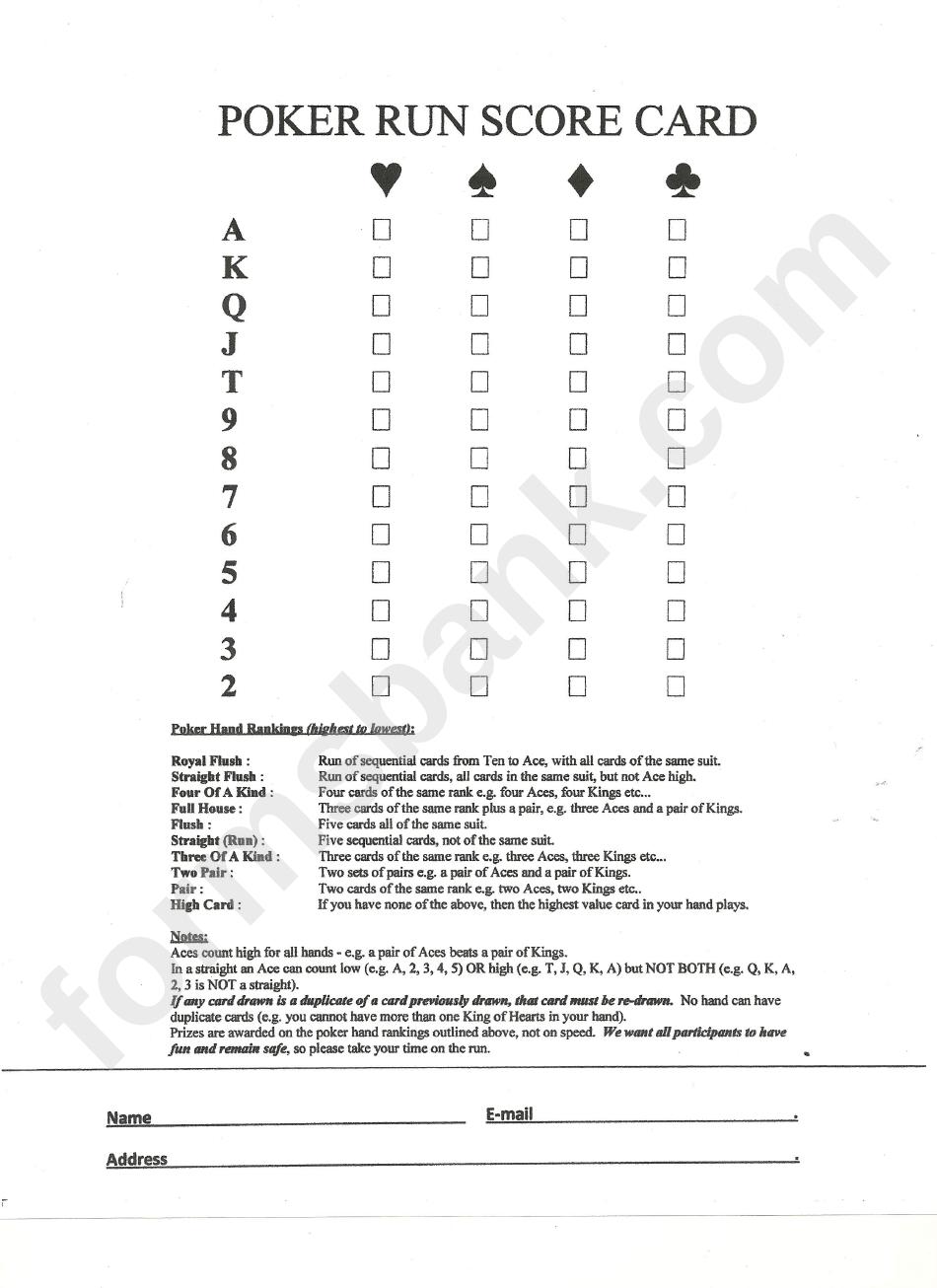Poker Run Score Card Template printable pdf download