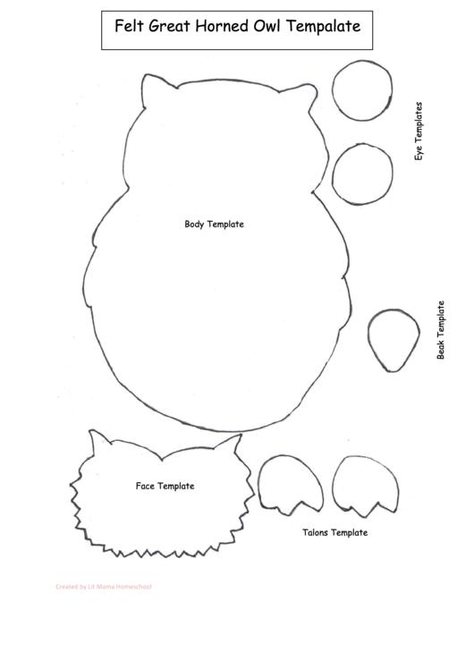 Felt Great Horned Owl Template printable pdf download