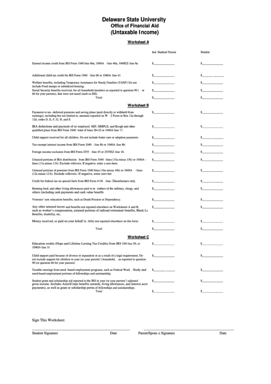 Fafsa Worksheets A B And C