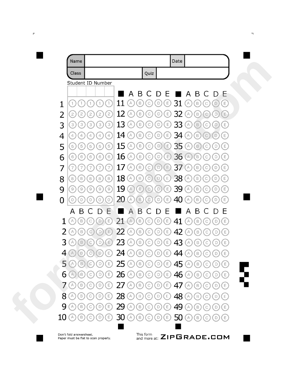 Answer Sheet Template 1-50 printable pdf download