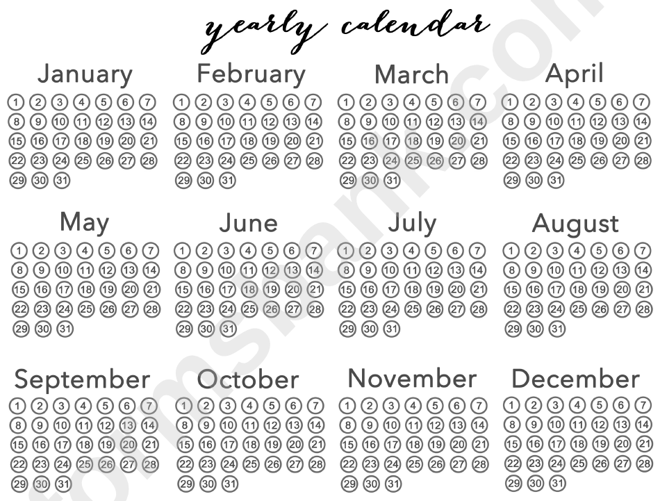 Large Blank Yearly Calendar Template printable pdf download