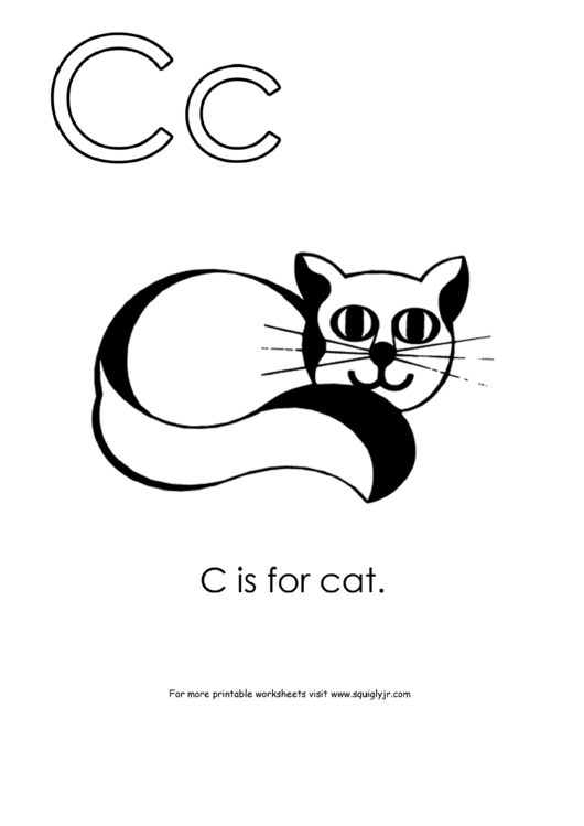 Letter C Template: C Is For Cat printable pdf download